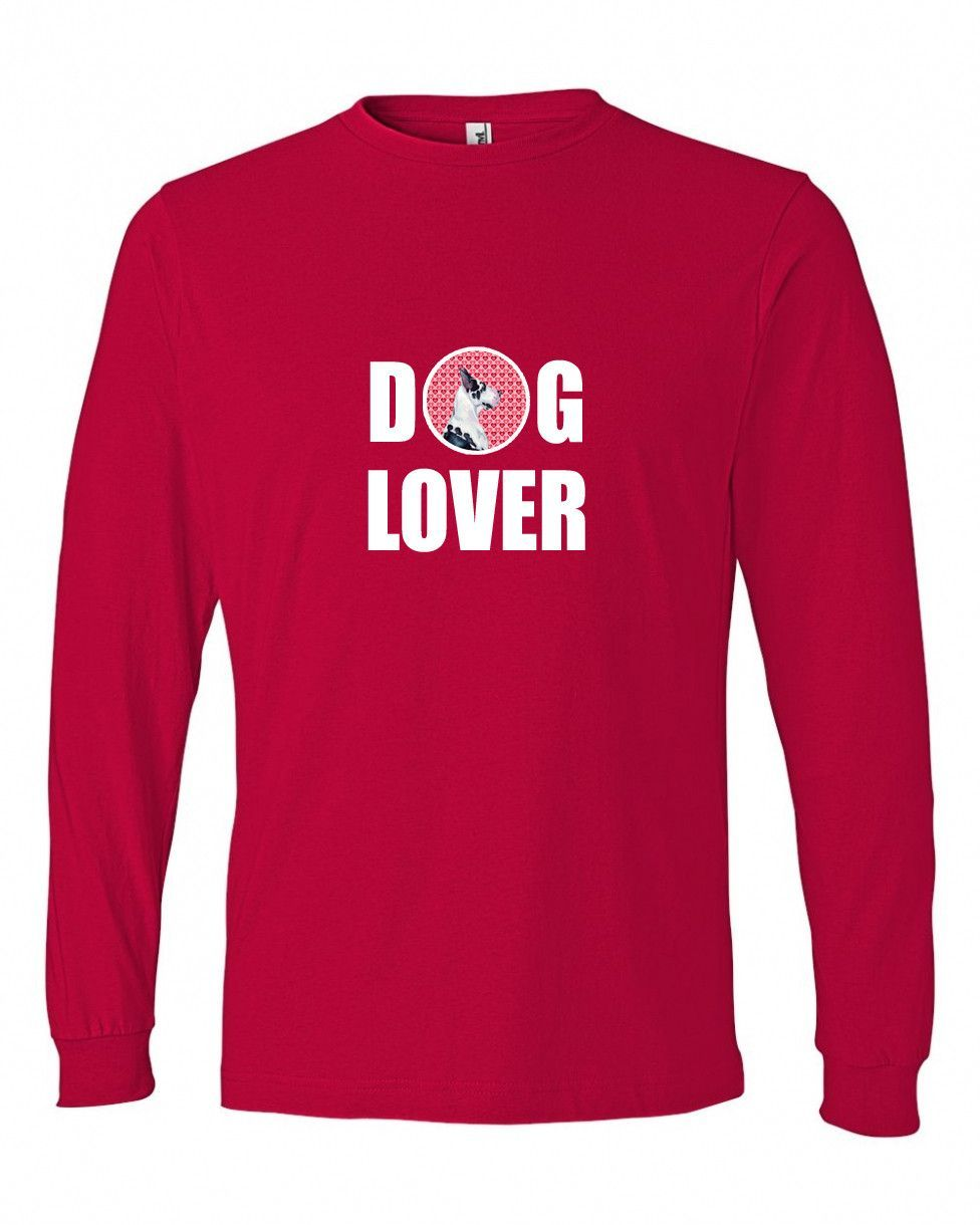 Great Dane Love and Hearts Long Sleeve Red Unisex Tshirt Adult 2XL