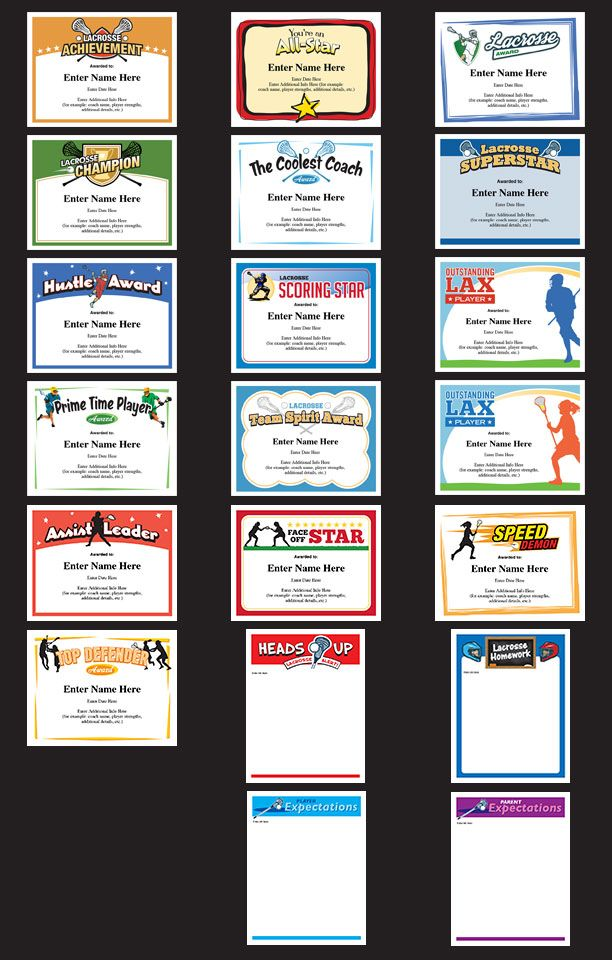 Lacrosse certificates templates for boys and girls Great awards - certificates templates