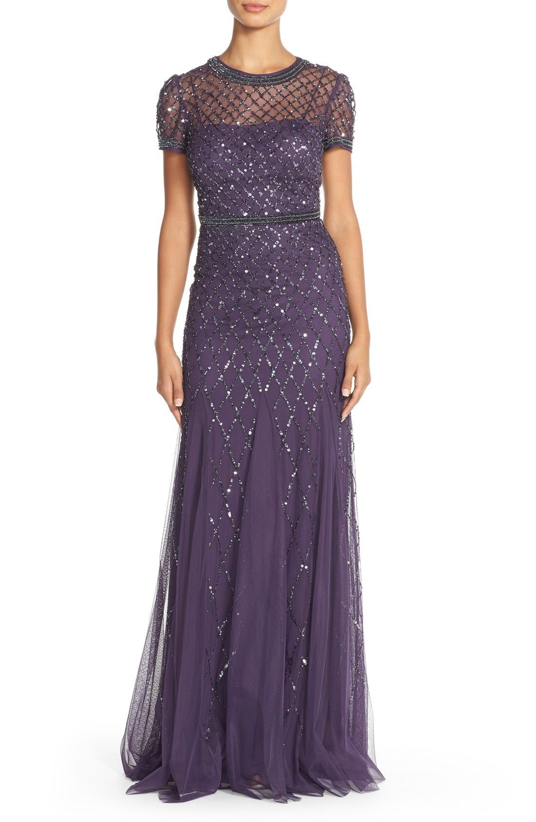 Adrianna Papell Beaded Mesh Gown (Regular | Mother of the Groom ...