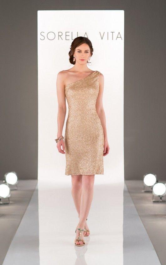 8725 One-Shoulder Sequin Bridesmaid Dress by Sorella Vita
