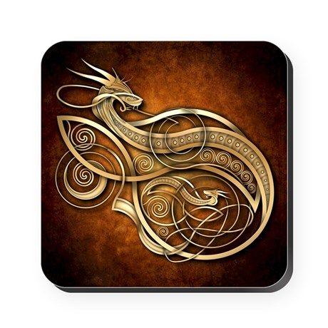 Gold Norse Dragon Square Coaster