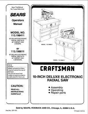 Manuals and Guides 171208: C.1985 Craftsman 113.198411 And