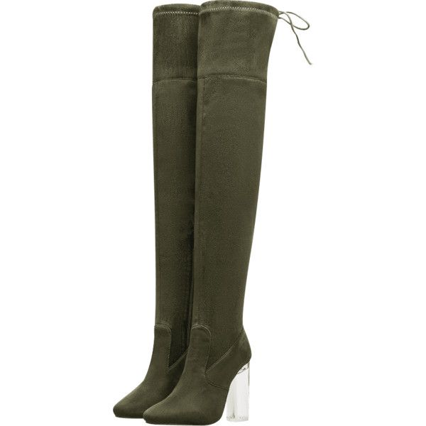 7209f23cf0931 Army Green 40 Lucite Heel Over-the-Knee Thigh Heel Boots ( 29 ...