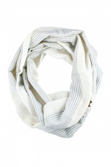 Mulu: Black and White Striped Infinity Scarf from Raven + Lily, company that empowers women through design