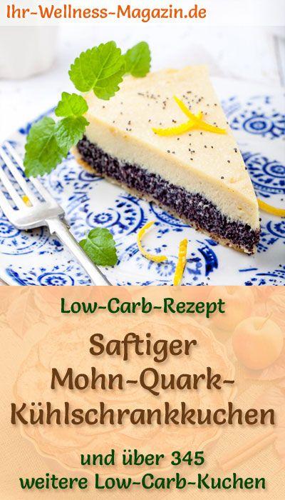 Saftiger Low Carb Mohn-Quark-Kühlschrankkuchen - Rezept ohne Zucker