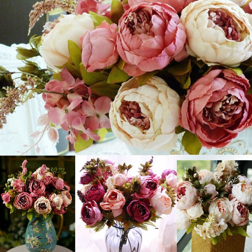 Details About Wedding Bridal Artificial Peony Silk Flowers 1 Bouquet