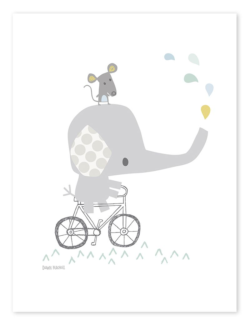 21e8d1f8e3 Lilipinso Kinderzimmer-Poster 'Elefant auf Fahrrad' weiß/grau/bunt 30x40cm  - im Fantasyroom Shop