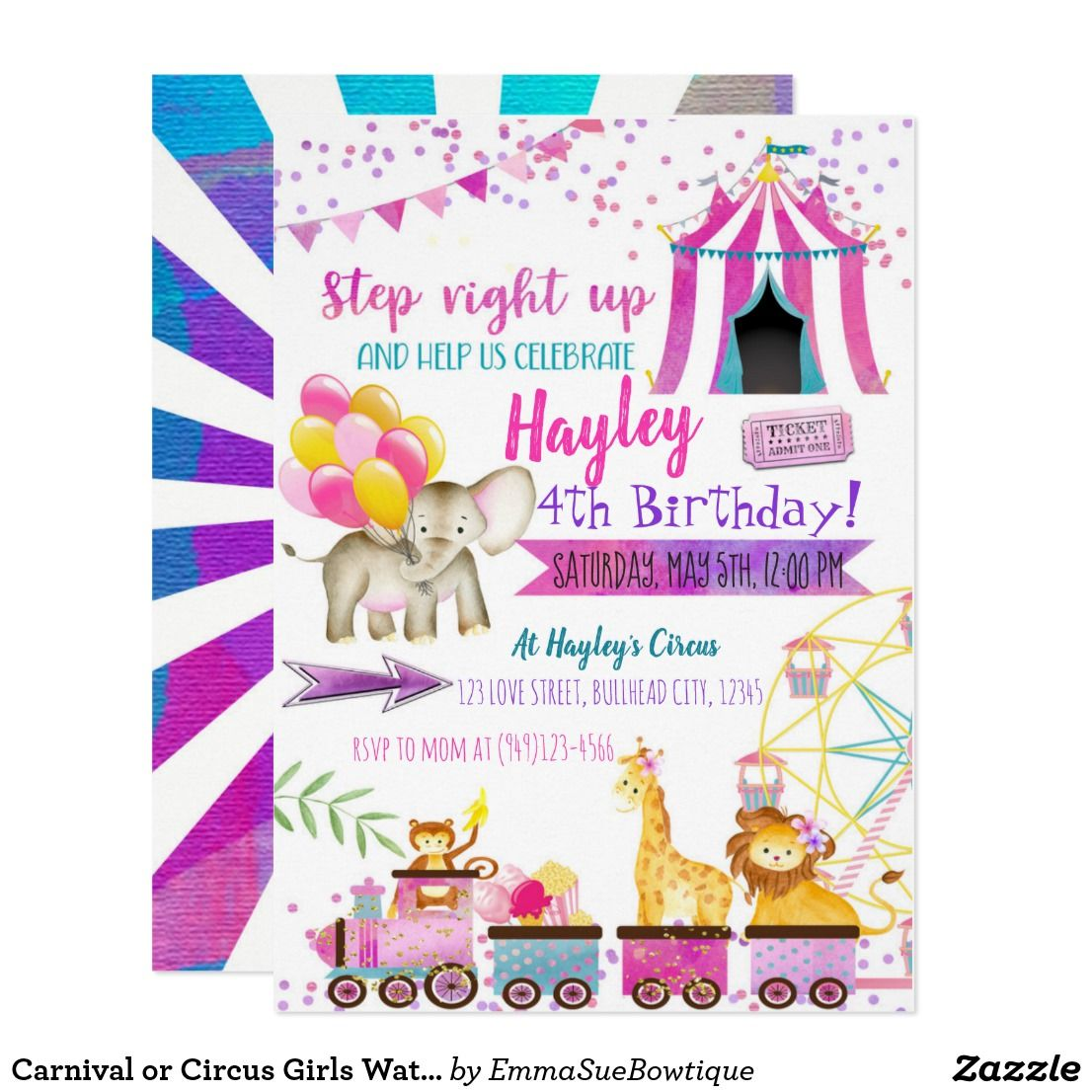 Carnival or Circus Girls Watercolor Birthday Invitation | Kids 2-12 ...