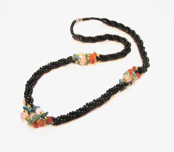 Beaded Rope Necklace, Black Glass / Gemstones