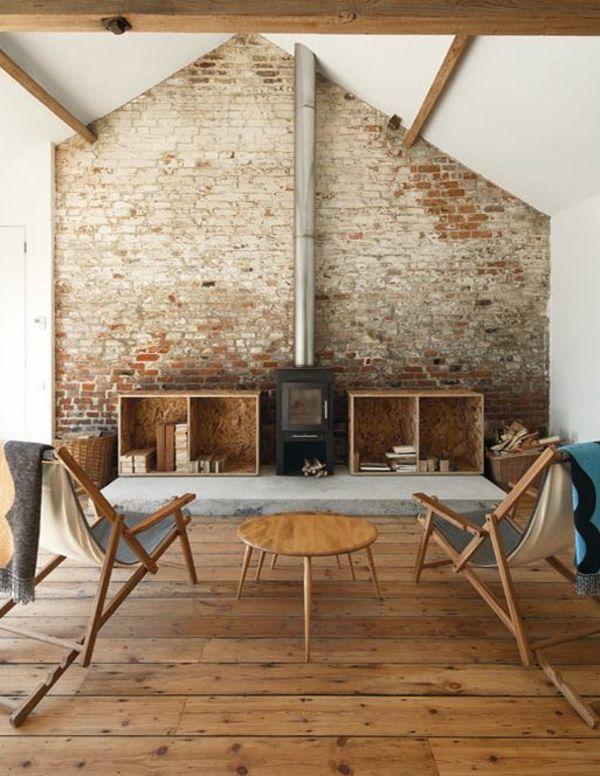 Backstein Tapete - schicke rustikale Akzente in der modernen - wohnzimmer landhausstil braun