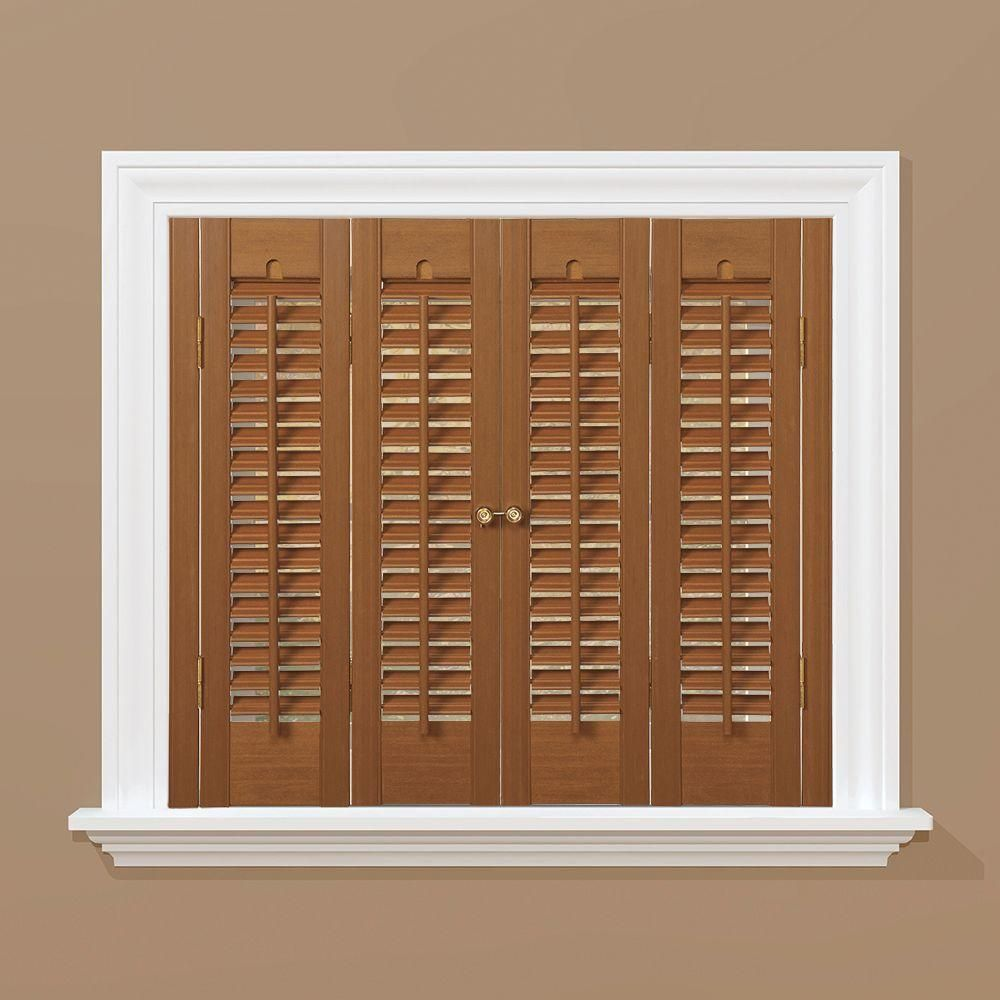 HomeBASICS Traditional Faux Wood Oak (Brown) Interior Shutter (Price Varies  By Size)