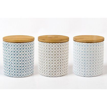 George Home Geometric Canister Set With Bamboo Lid Kitchen
