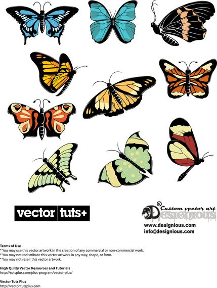 Butterflies illustration set #AD , #Ad, #AFF, #set, #illustration, #Butterflies