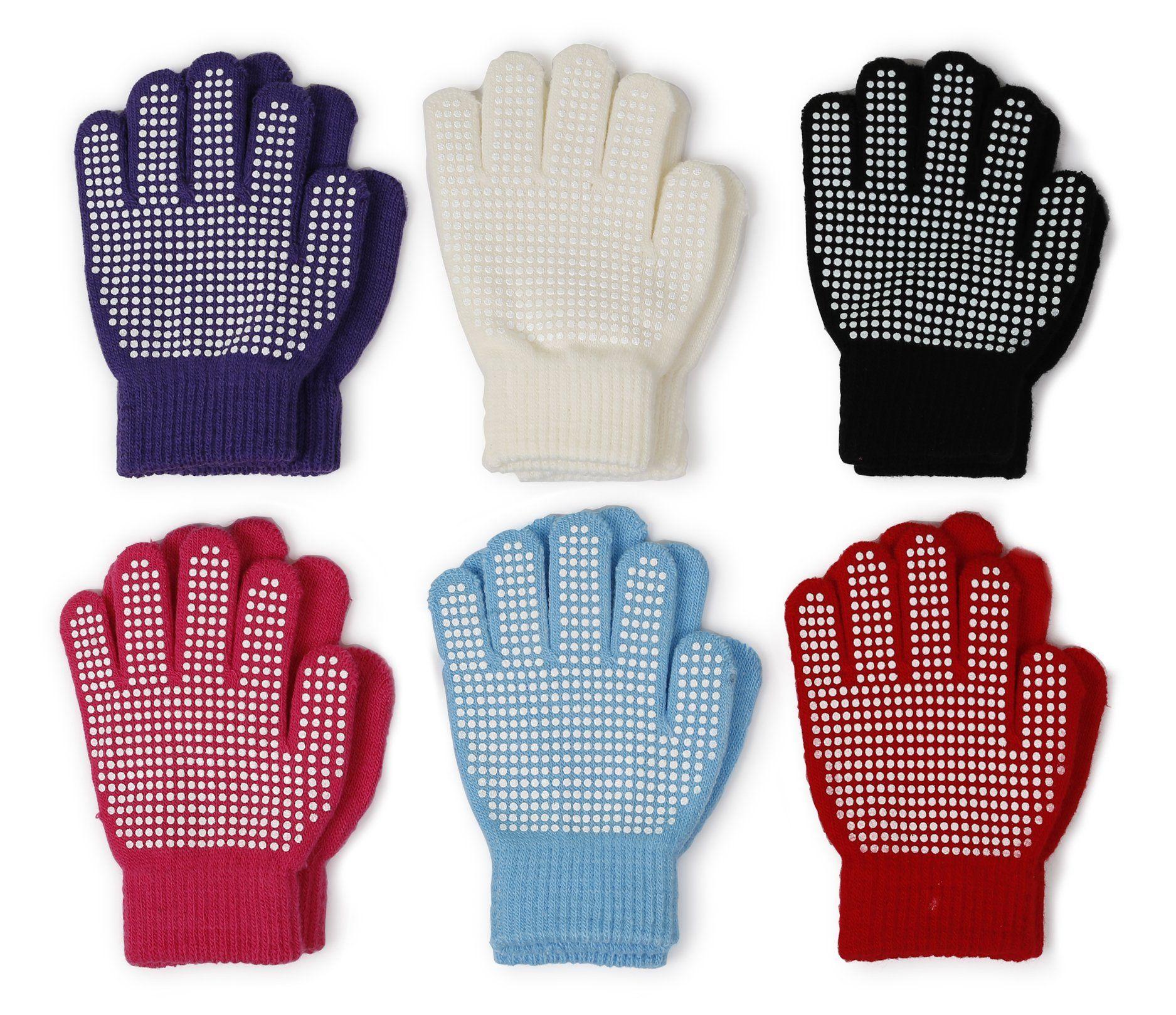 New Winter Warm Magic-Stretch Gripper Glove Kids Size Colorful Set Knit Gloves