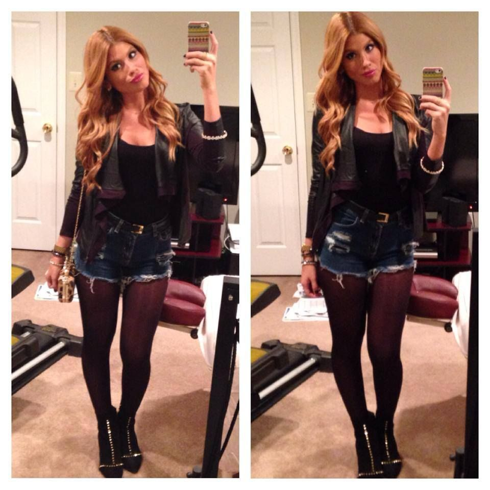 fall ootn high waisted jean shorts tights and booties. Black Bedroom Furniture Sets. Home Design Ideas