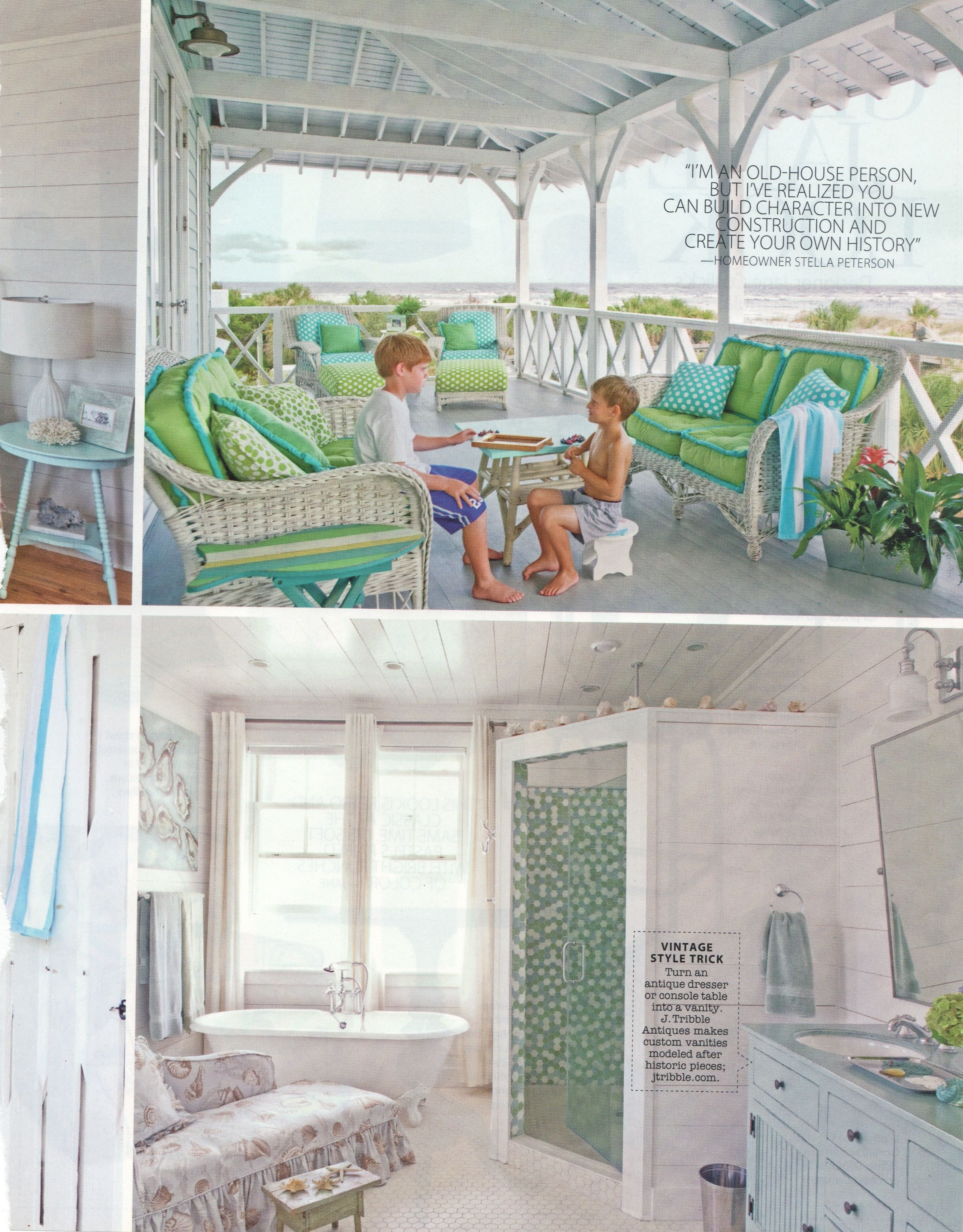 Love the colors in porch furniture, shower style & tiles in shower, also blue vanity is cool