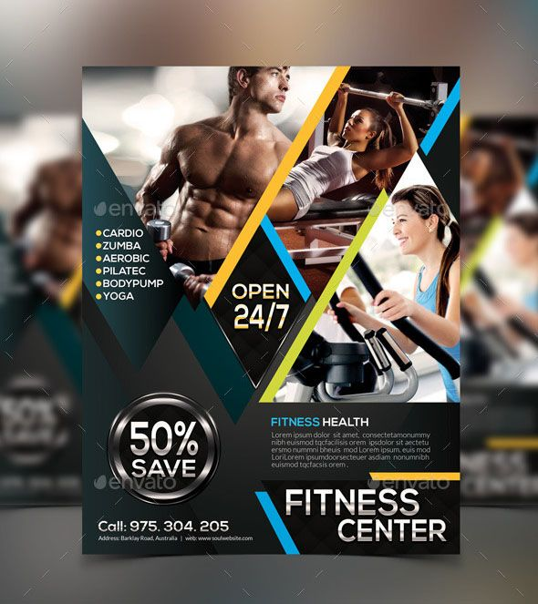 Zumba Fitness Flyer Design Template Templates Pinterest - Gym Brochure Templates