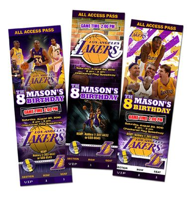 Details About LA LAKERS BIRTHDAY PARTY INVITATION TICKET CUSTOM CARD