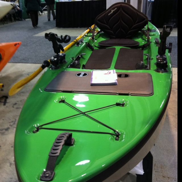 """#kayaking #paddling  Awesome stand-up Diablo #fishing kayak from Wildcat Creek Outfitters booth at Quiet Sports Expo in #Indy Fairgrounds this weekend.  $1500 12' 5"""" 69 lb"""