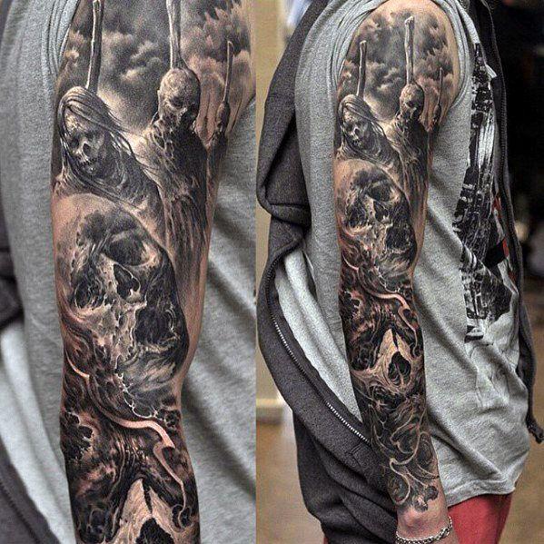 Top 107 Sleeve Tattoo Ideas 2020 Inspiration Guide Black And Grey Tattoos Sleeve Sleeve Tattoos Skull Sleeve Tattoos