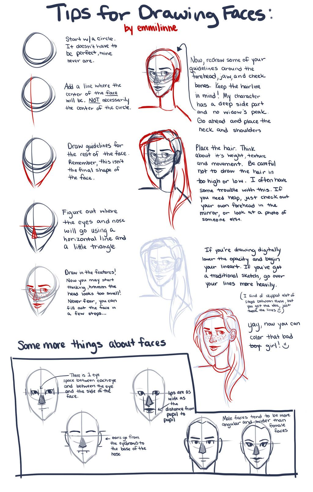 Tips For Drawing Faces By ~emmilinne On Deviantart