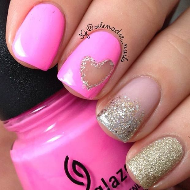 Pink and Gold Glitter Nail Design for Valentine's Day