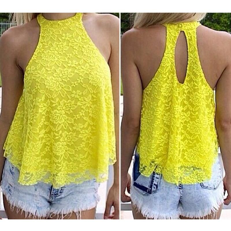 Women Sexy Backless Shirts Summer Lace Floral Hollow-Out Back Lace Halter Loose Shirt Top Blouse S-L 4 Color