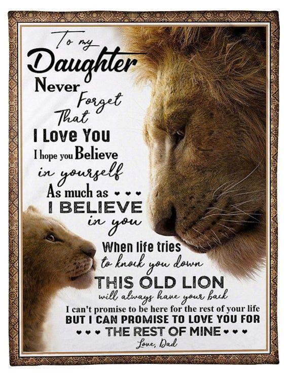 Blanket - To My Daughter- Lion - I Hope Fleece Bla