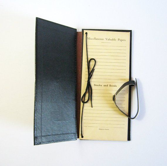 Valuable Papers - Important Document Folder - Vintage Office Organizer - Black Folio - Document Storage - Stock Portfolio #stockportfolio