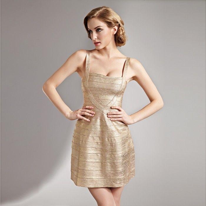 Goldenes Abendkleid Kurz Exklusiv | Abendkleid, Kleider ...