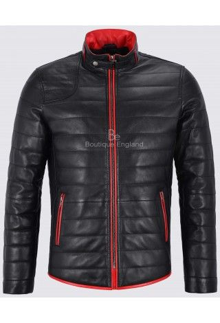 Men Leather Jacket Black Quilted With Red Trimming Biker Coat 4141