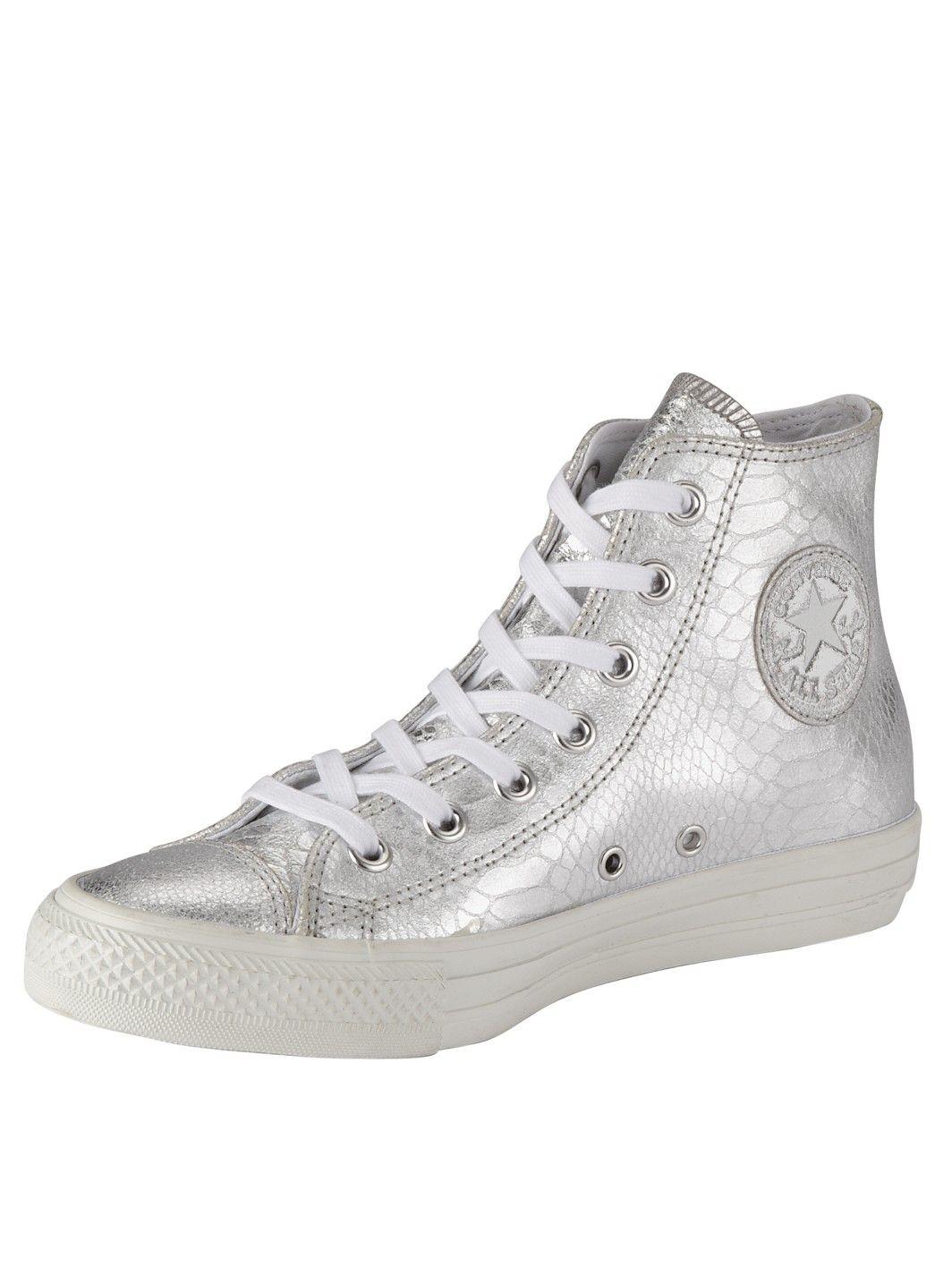 cd722702c72 Converse Chuck Taylor All Star Elevated Glam Silver Hi Top Plimsolls ...
