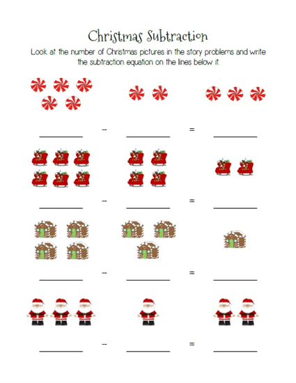 Christmas Themed Subtraction Practice Worksheets Christmas Subtraction Kindergarten Subtraction Worksheets Kindergarten Math Worksheets