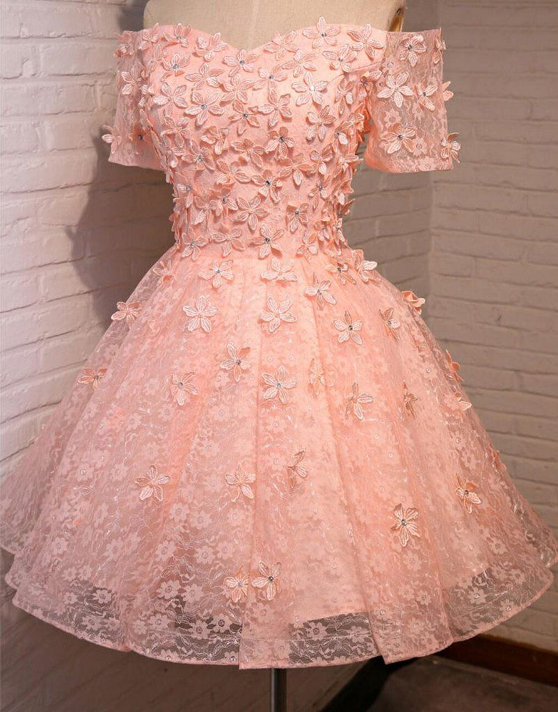 Off shoulder short sleeve peach lace beaded homecoming prom dresses
