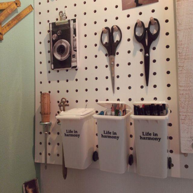 Misatoさんの、DIY,静岡県民,セリア,ダイソー,ペグボード,パンチングボード,有孔ボード,狭小住宅,雑貨,100均,机,のお部屋写真