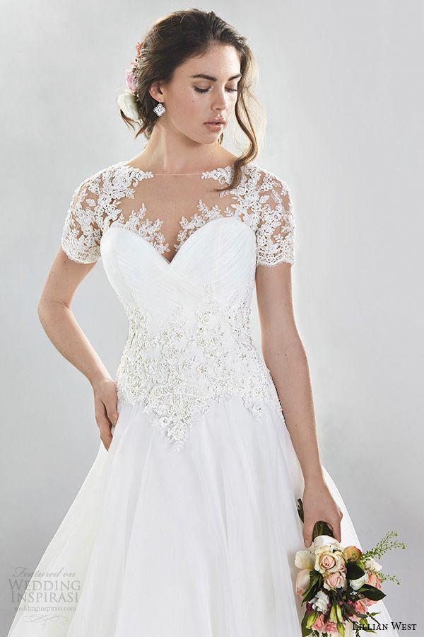 Lillian west spring 2016 wedding dresses wedding dress trends lillian west spring 2016 bridal gorgeous a line wedding dress lace illusion short sleeves junglespirit Images