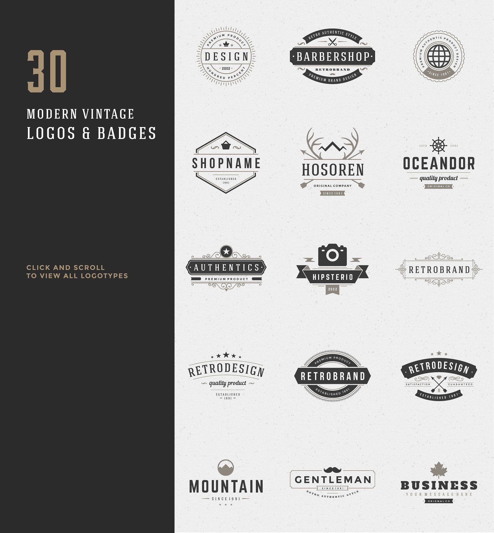 30 Vintage logos Typography poster design, Logos design