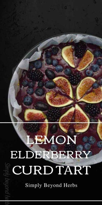 Accompanied with almond crust and fruits on the top, this healthy dessert deserves our attention. #glutenfreedessert #elderberries #elderberrycurdtart