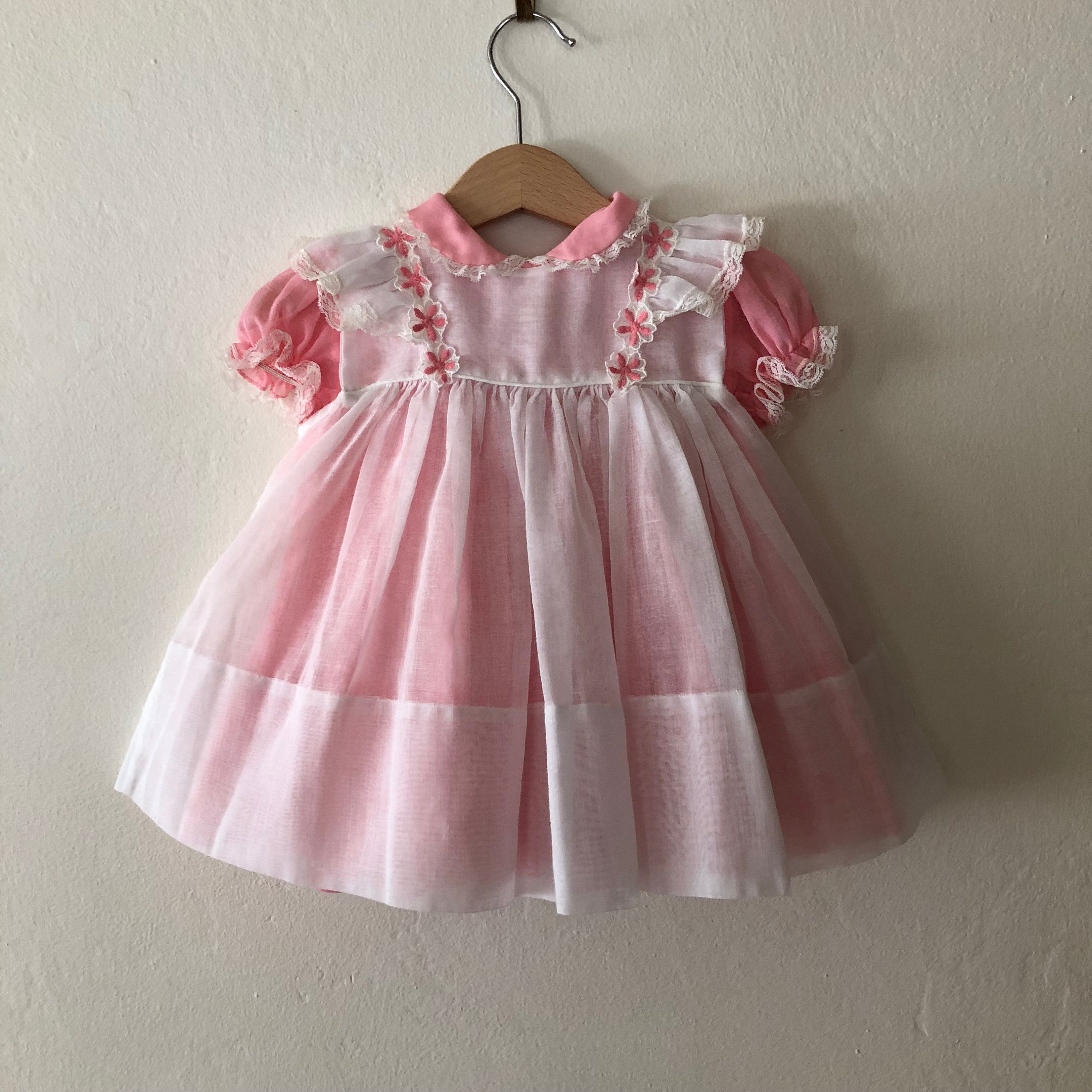 Vintage Baby Pinafore 6 Piece Dress, Vintage Baby Easter Dress