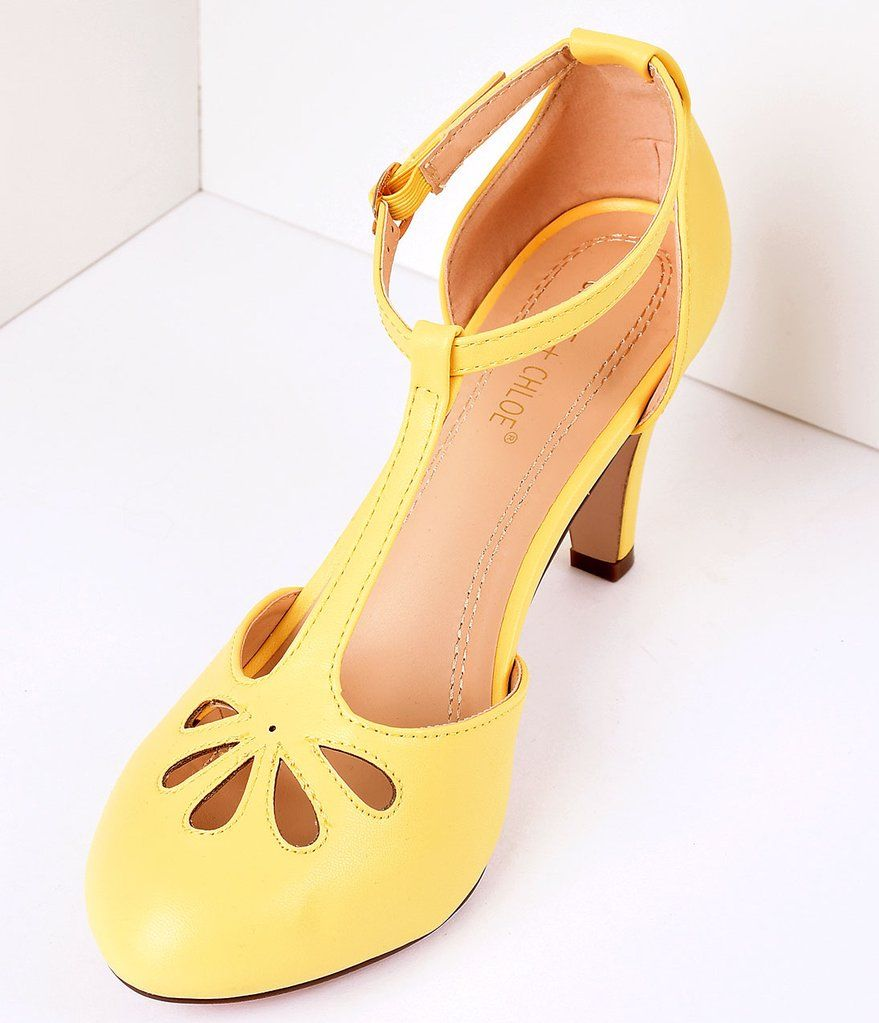 Yellow Pleather Cutout Kimmy TStrap Heels Kitten heel