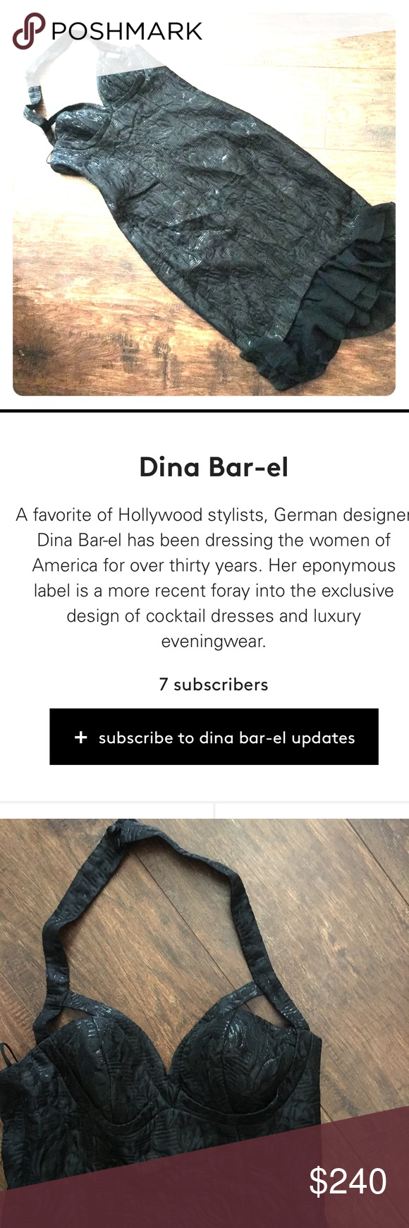 DINA BAR-EL NWT Wow! Figure hugging halter style designer dress! Tags still attached and in great condition! Black with a great ruffle detail at bottom hem! Happy to measure of anyone is serious and wants to know- ASK😉 Dina Bar-el Dresses Midi