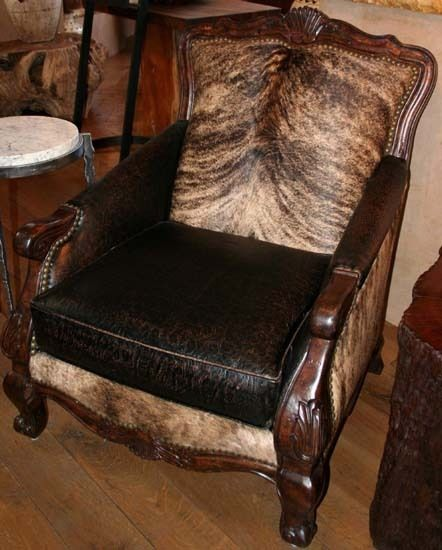 Pretty Brindle Cowhide And Leather Chair.