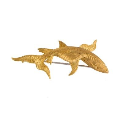 Yellow Gold Buccellati Shark Pin Brooch Features Brand