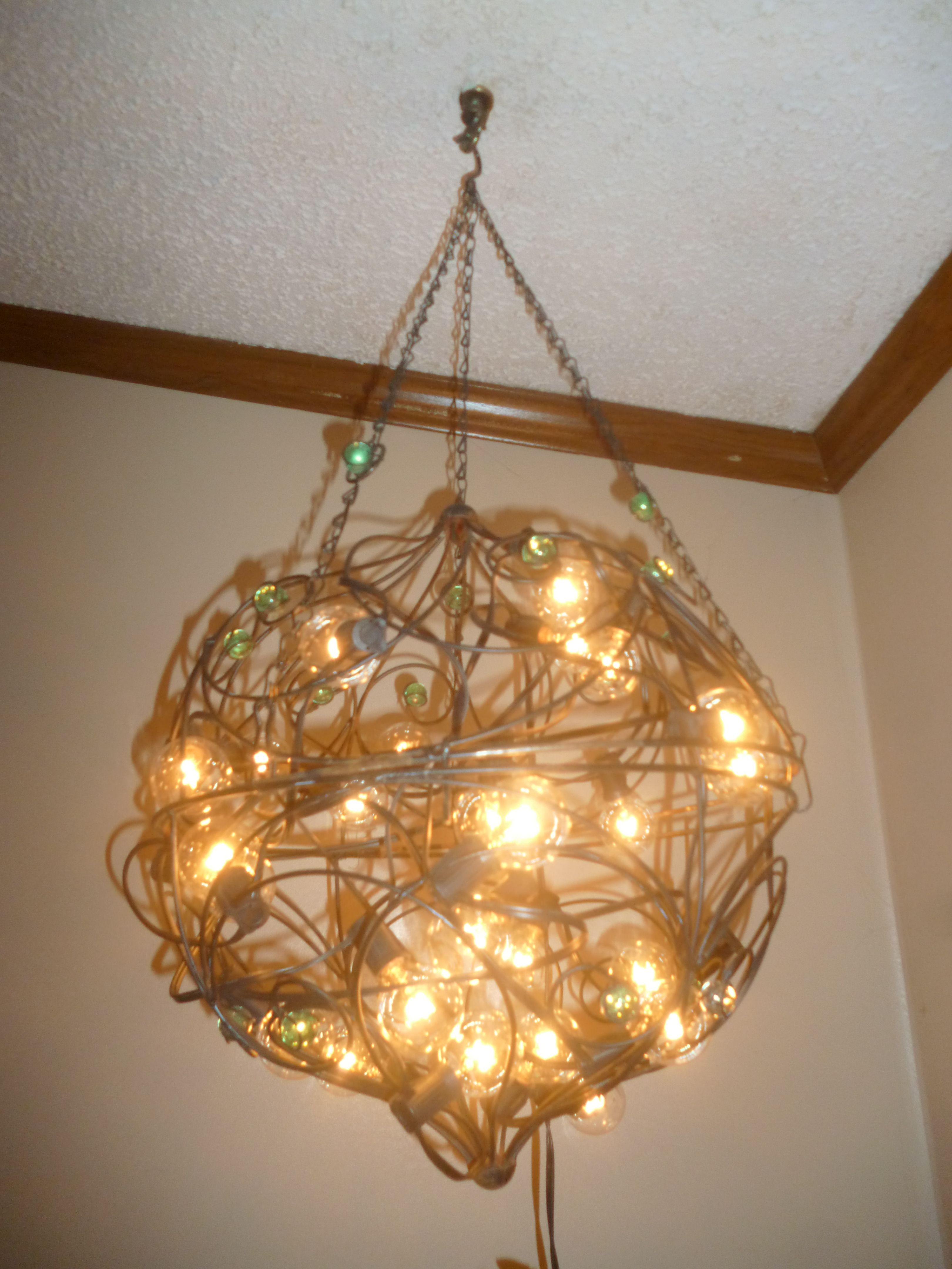 Vintage wire basket chandelier I made. | DIY wire basket ...