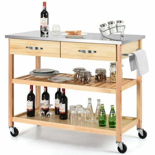 Charlton Home Gillies Rolling Kitchen Cart In 2019 Rolling Kitchen Cart Kitchen Trolley Cart Kitchen Island Cart