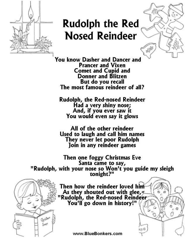 Printable Christmas Carol Lyrics sheet Rudolph the Red