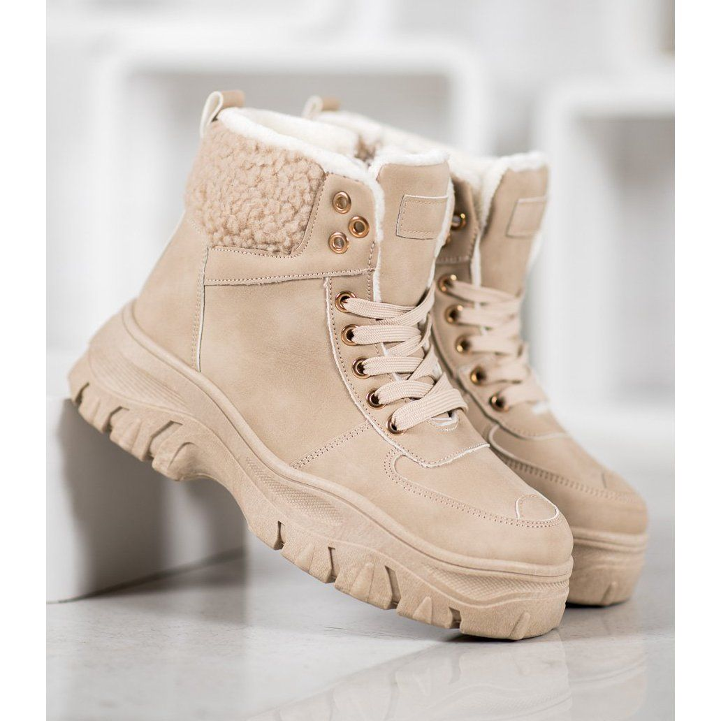 Goll Warm Sneakers With Sheepskin Brown Botines Zapatos