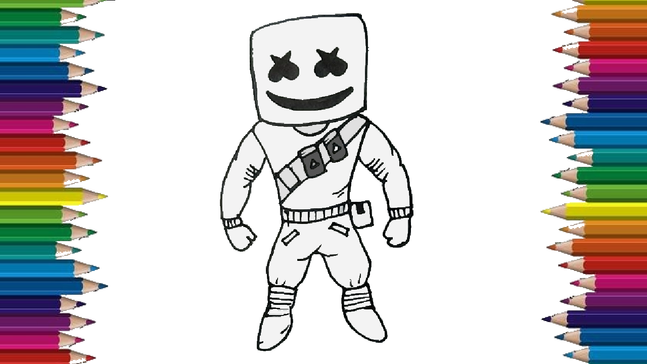 How To Draw Marshmello From Fortnite Fortnite Drawing