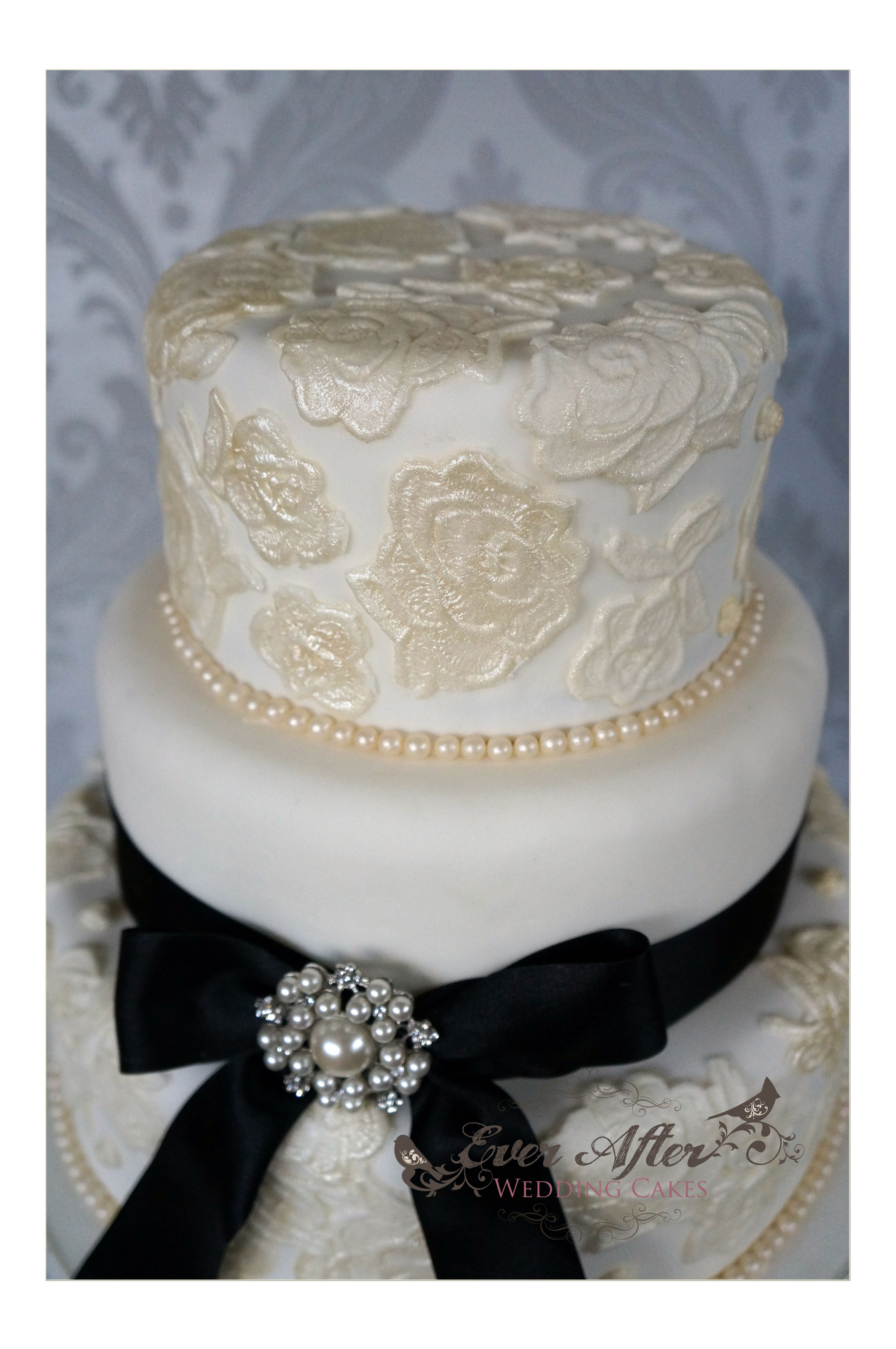 Elegant Wedding Cake in Ivory Lace, Pearls & Black Ribbon. 3 Tiers ...
