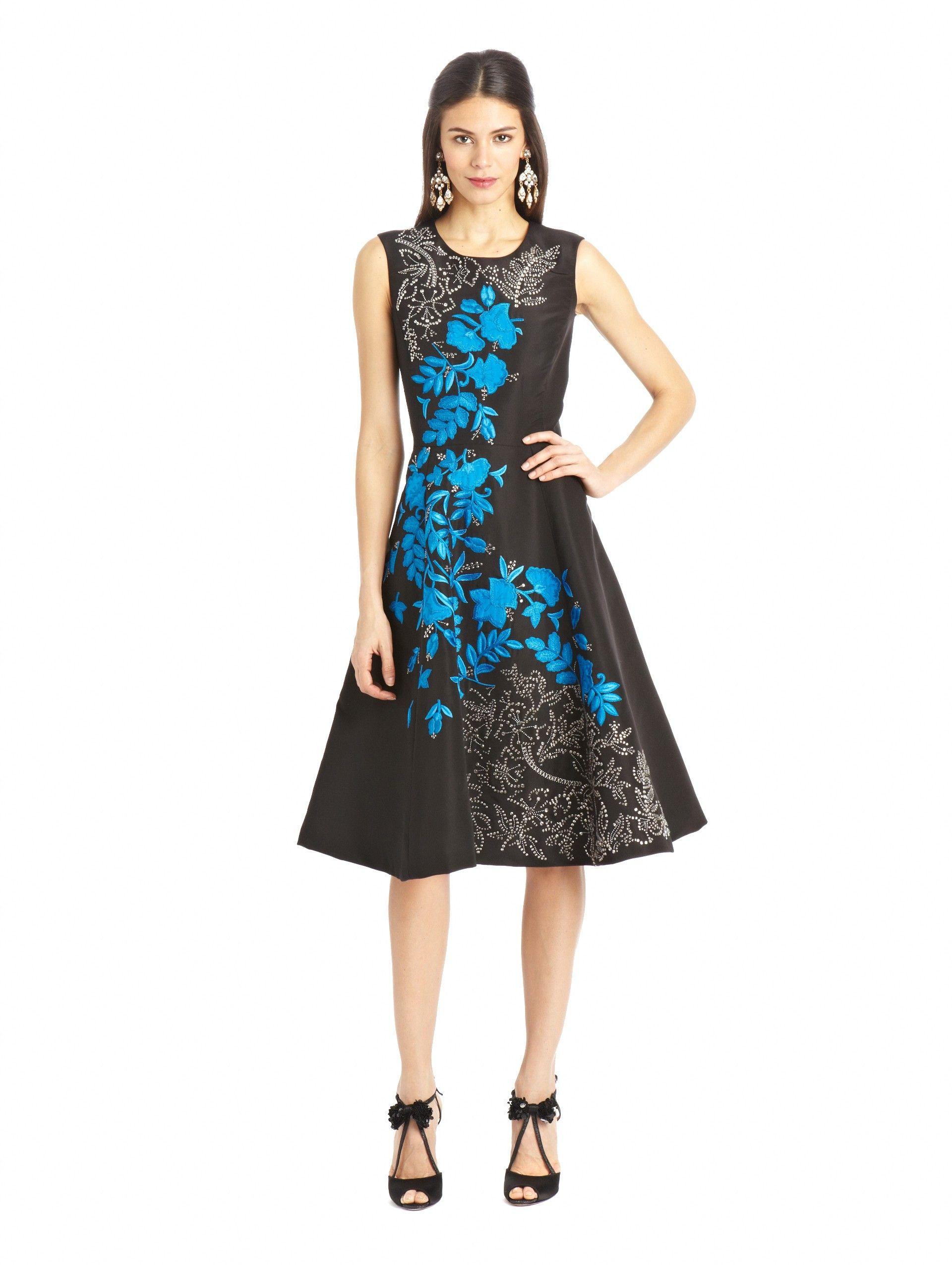 Oscar de la Renta earrings Shoes black blue silver dress character ...